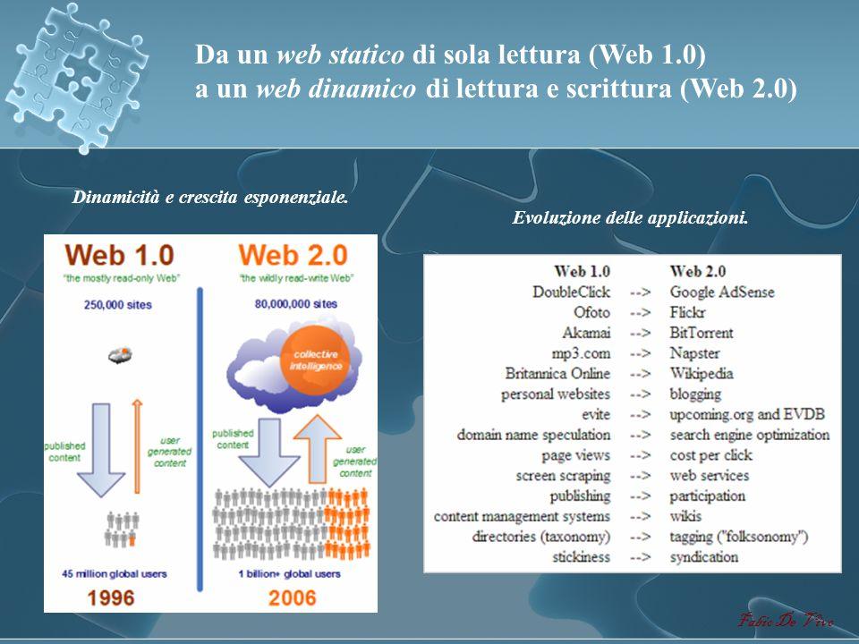 Fabio De Vivo Il Web 2.0 o Community Web si basa sul concetto di comunità e di intelligenza collettiva e connettiva. E il Community Web, caratterizzat