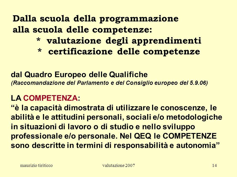 maurizio tiriticcovalutazione 200714 Dalla scuola della programmazione alla scuola delle competenze: * valutazione degli apprendimenti * certificazion