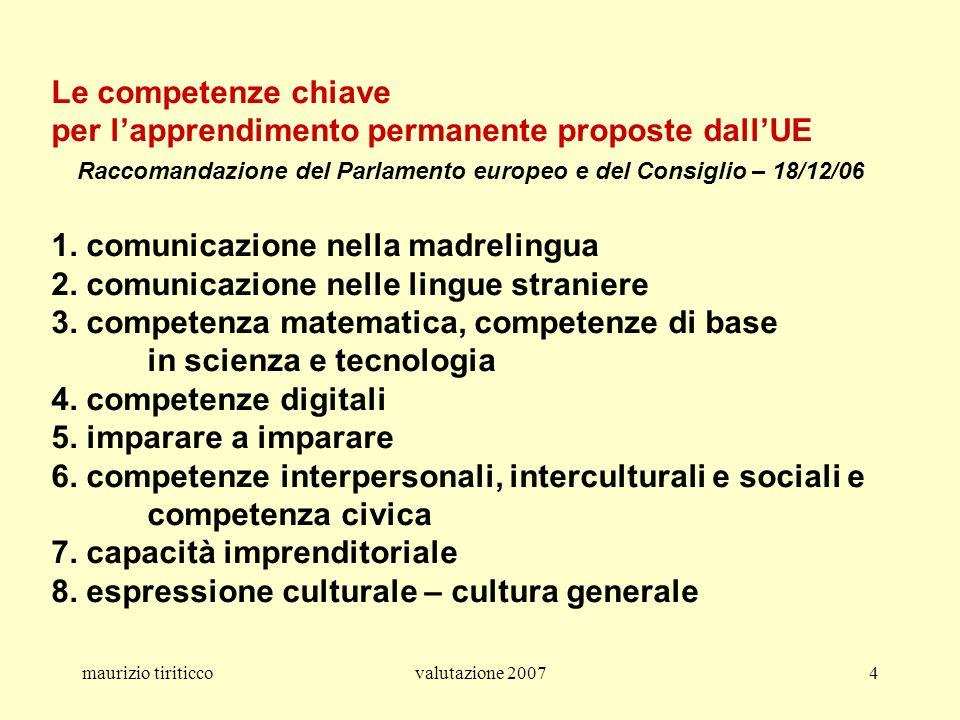maurizio tiriticcovalutazione 20074 Le competenze chiave per lapprendimento permanente proposte dallUE Raccomandazione del Parlamento europeo e del Co