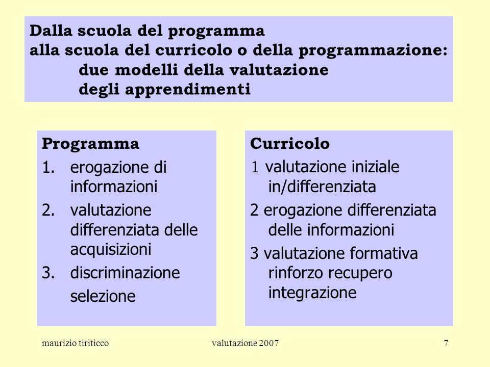 maurizio tiriticcovalutazione 20077 Dalla scuola del programma alla scuola del curricolo o della programmazione: due modelli della valutazione degli a