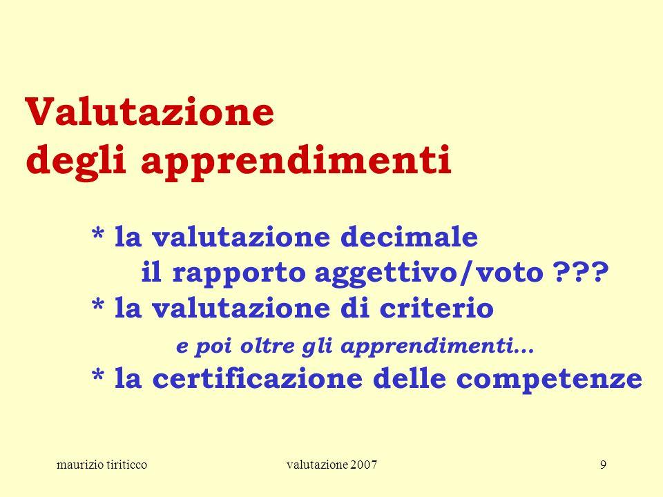 maurizio tiriticcovalutazione 20079 Valutazione degli apprendimenti * la valutazione decimale il rapporto aggettivo/voto ??? * la valutazione di crite