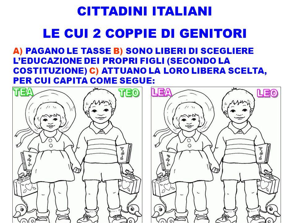 CITTADINI ITALIANI LE CUI 2 COPPIE DI GENITORI A) PAGANO LE TASSE B) SONO LIBERI DI SCEGLIERE LEDUCAZIONE DEI PROPRI FIGLI (SECONDO LA COSTITUZIONE) C
