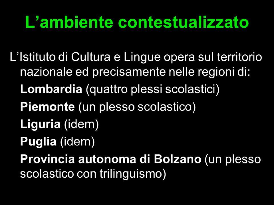 Lambiente contestualizzato LIstituto di Cultura e Lingue opera sul territorio nazionale ed precisamente nelle regioni di: Lombardia (quattro plessi sc
