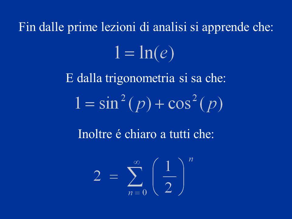 Fin dalle prime lezioni di analisi si apprende che: E dalla trigonometria si sa che: Inoltre é chiaro a tutti che: