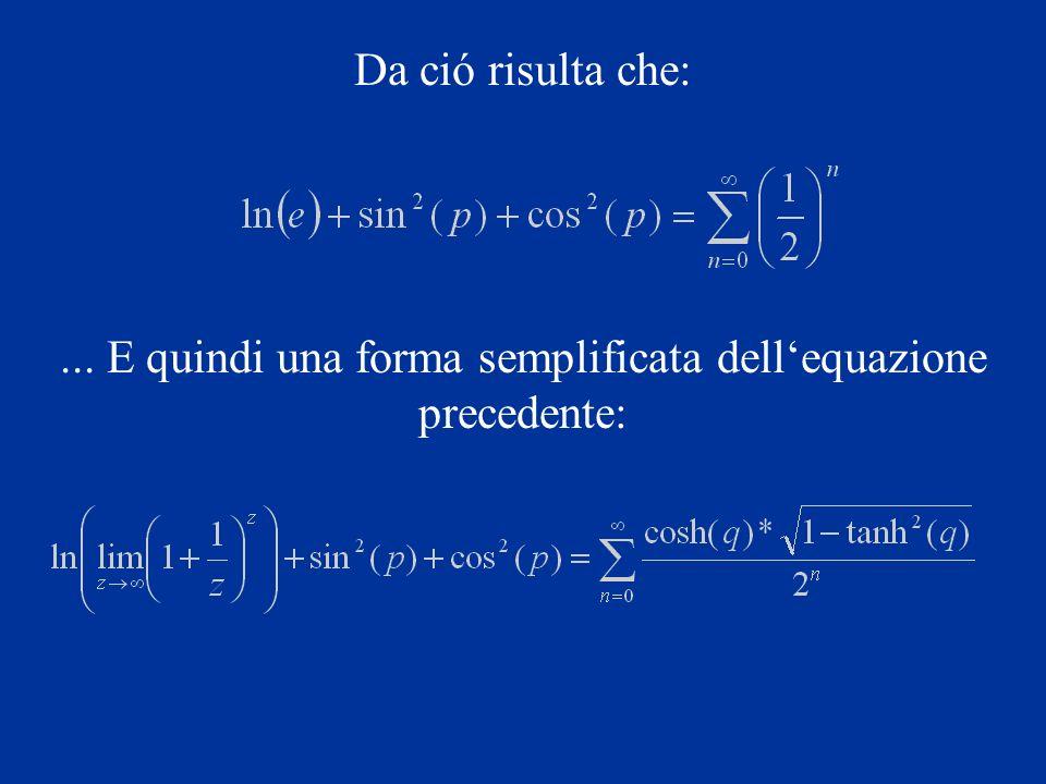 Da ció risulta che:... E quindi una forma semplificata dellequazione precedente: