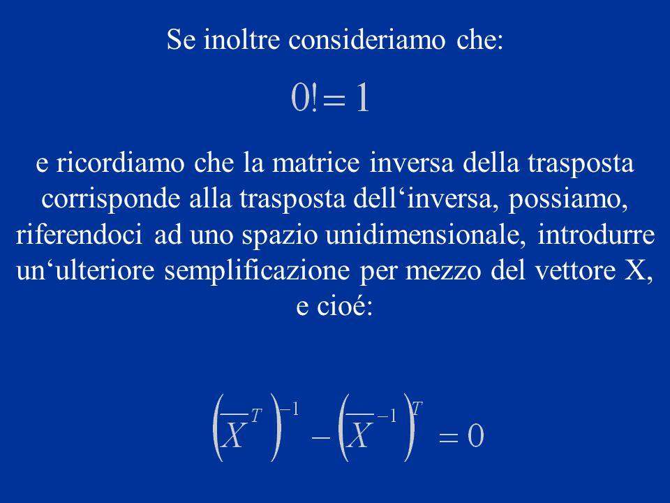 Se inoltre consideriamo che: e ricordiamo che la matrice inversa della trasposta corrisponde alla trasposta dellinversa, possiamo, riferendoci ad uno