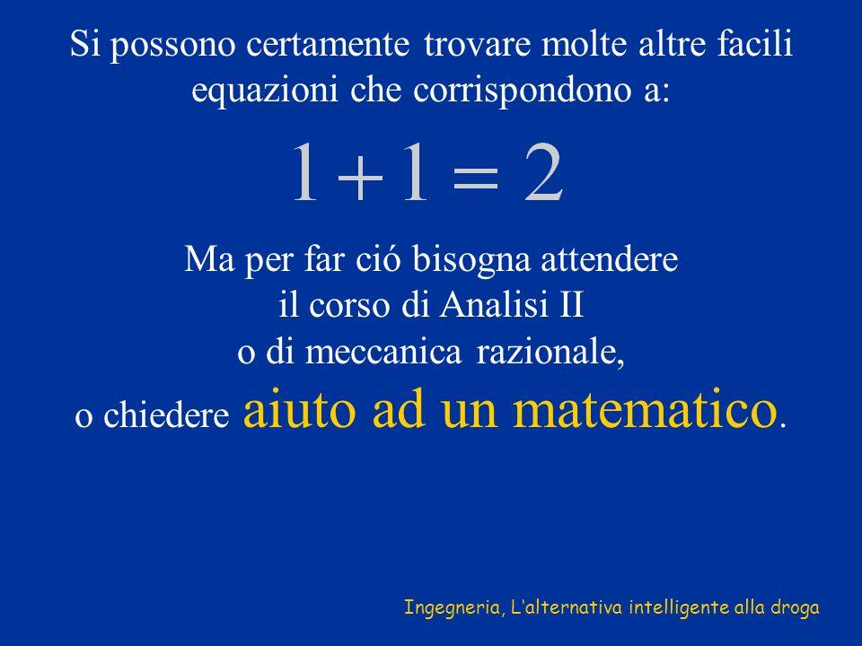Si possono certamente trovare molte altre facili equazioni che corrispondono a: Ma per far ció bisogna attendere il corso di Analisi II o di meccanica