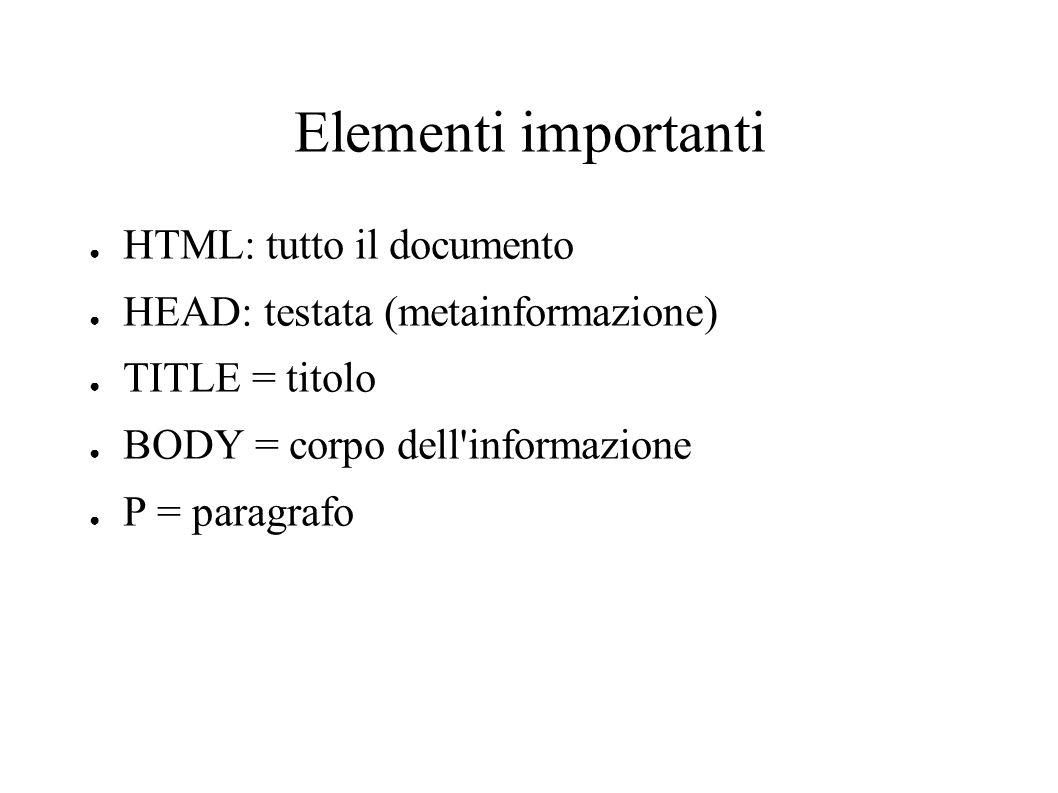 Elementi importanti HTML: tutto il documento HEAD: testata (metainformazione) TITLE = titolo BODY = corpo dell'informazione P = paragrafo