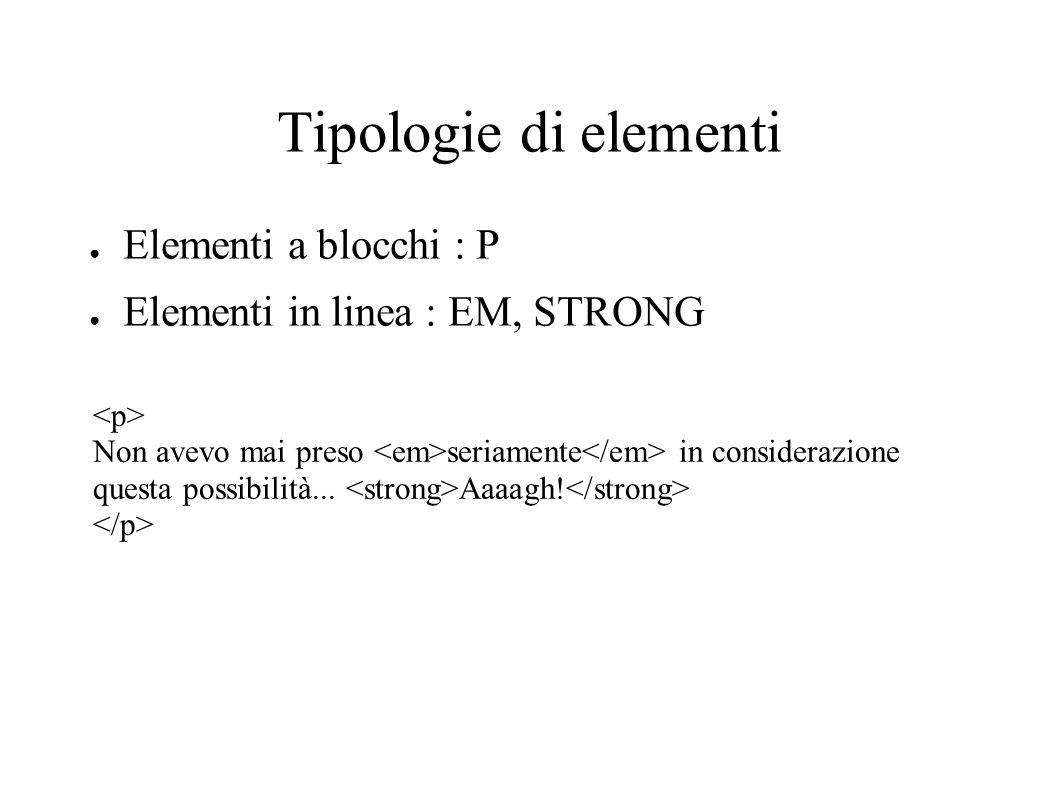 Tipologie di elementi Elementi a blocchi : P Elementi in linea : EM, STRONG Non avevo mai preso seriamente in considerazione questa possibilità... Aaa