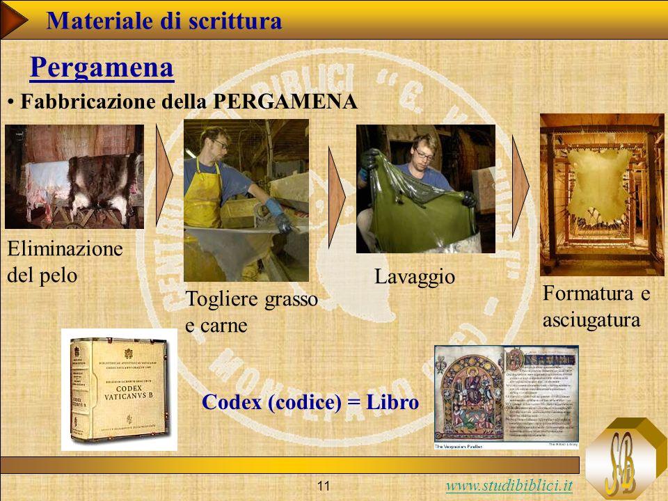 www.studibiblici.it 11 Pergamena Fabbricazione della PERGAMENA Eliminazione del pelo Togliere grasso e carne Lavaggio Formatura e asciugatura Codex (codice) = Libro Materiale di scrittura