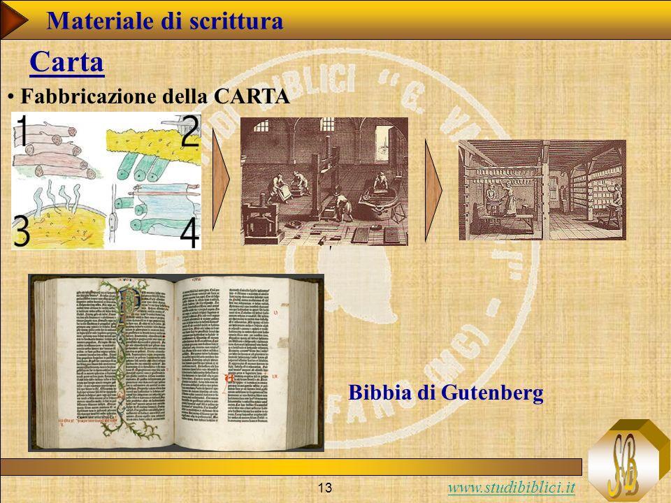 www.studibiblici.it 13 Carta Fabbricazione della CARTA Bibbia di Gutenberg Materiale di scrittura