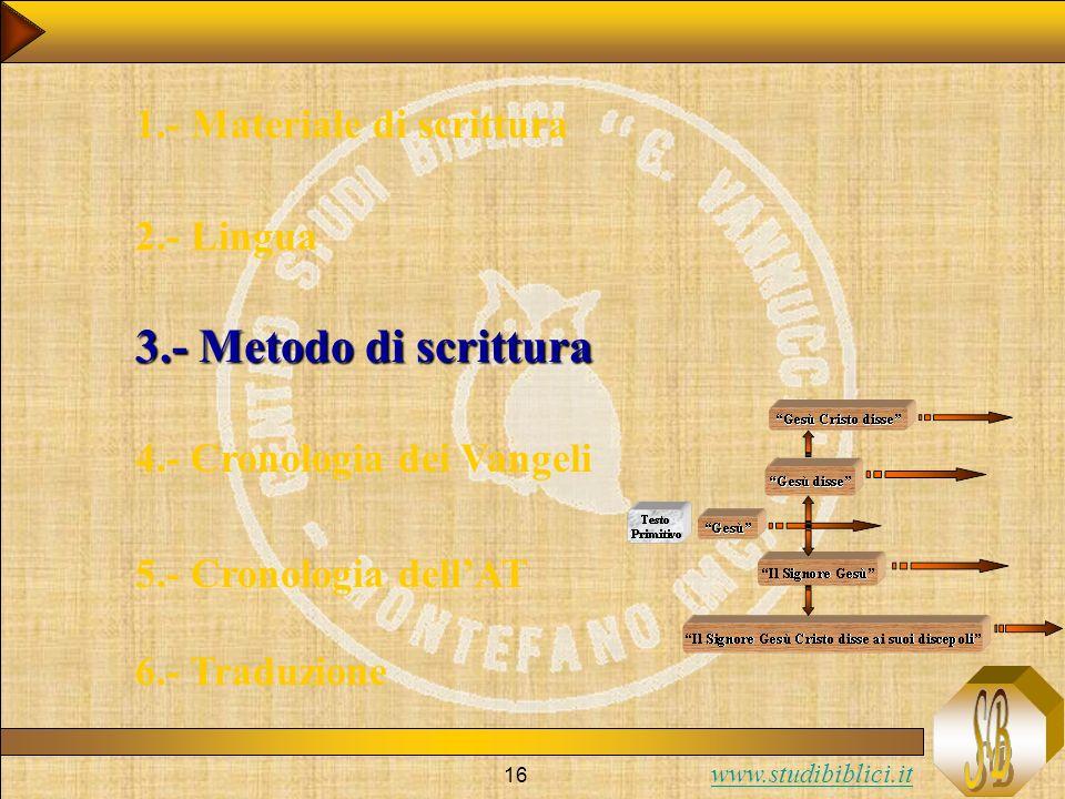 www.studibiblici.it 16 1.- Materiale di scrittura 2.- Lingua 3.- Metodo di scrittura 4.- Cronologia dei Vangeli 5.- Cronologia dellAT 6.- Traduzione