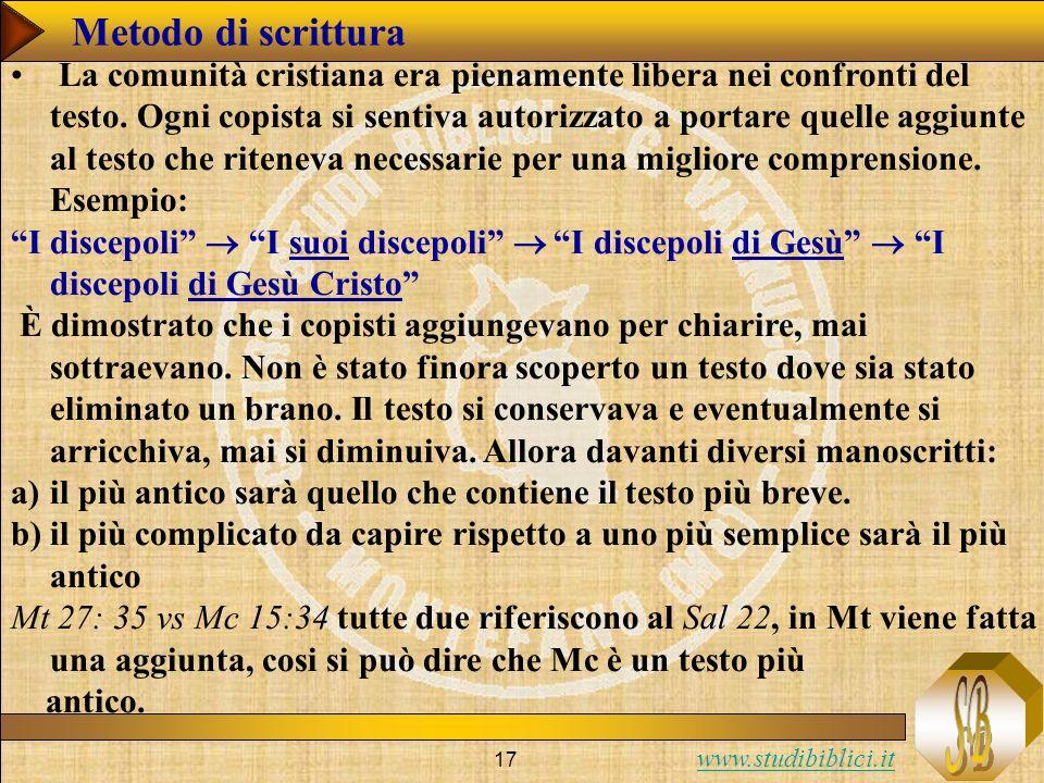 www.studibiblici.it 17 Metodo di scrittura La comunità cristiana era pienamente libera nei confronti del testo.