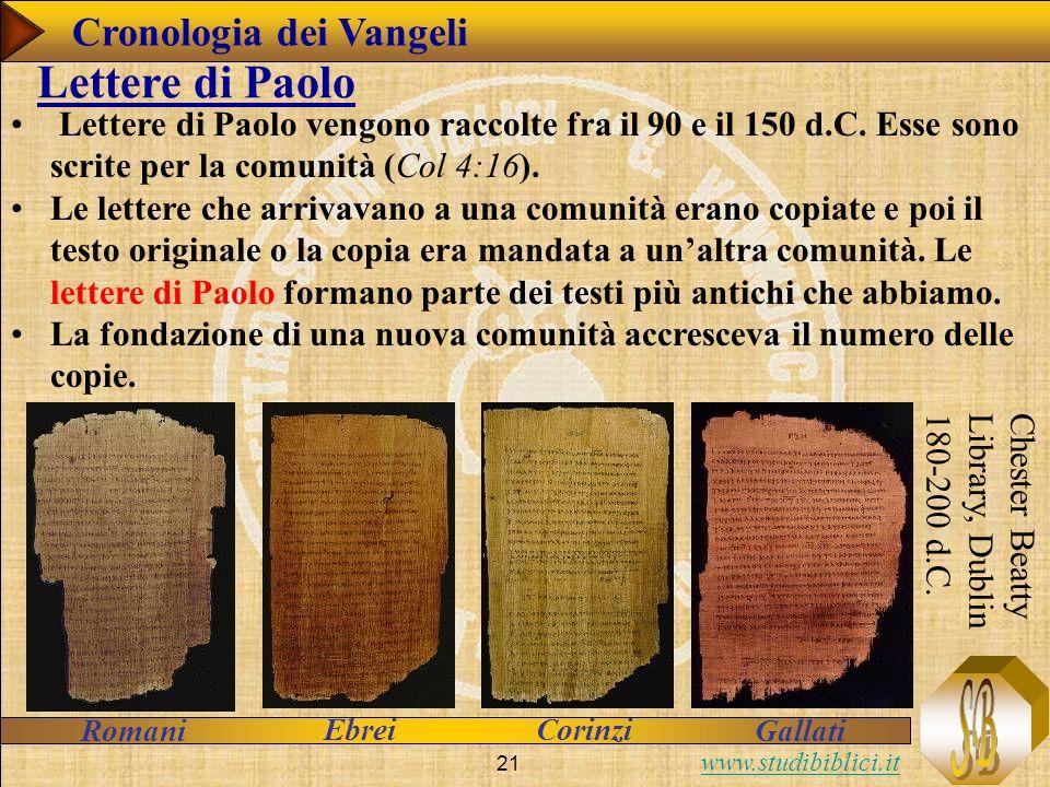 www.studibiblici.it 21 Lettere di Paolo vengono raccolte fra il 90 e il 150 d.C.