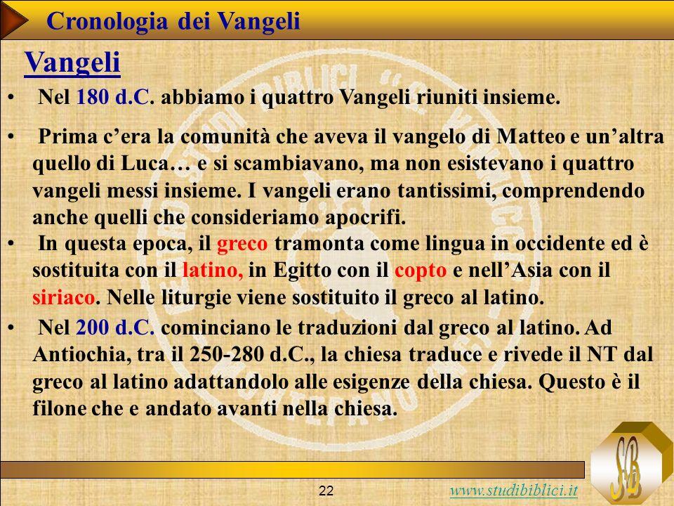 www.studibiblici.it 22 Nel 180 d.C.abbiamo i quattro Vangeli riuniti insieme.