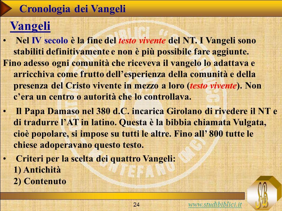 www.studibiblici.it 24 Cronologia dei Vangeli Vangeli Nel IV secolo è la fine del testo vivente del NT.