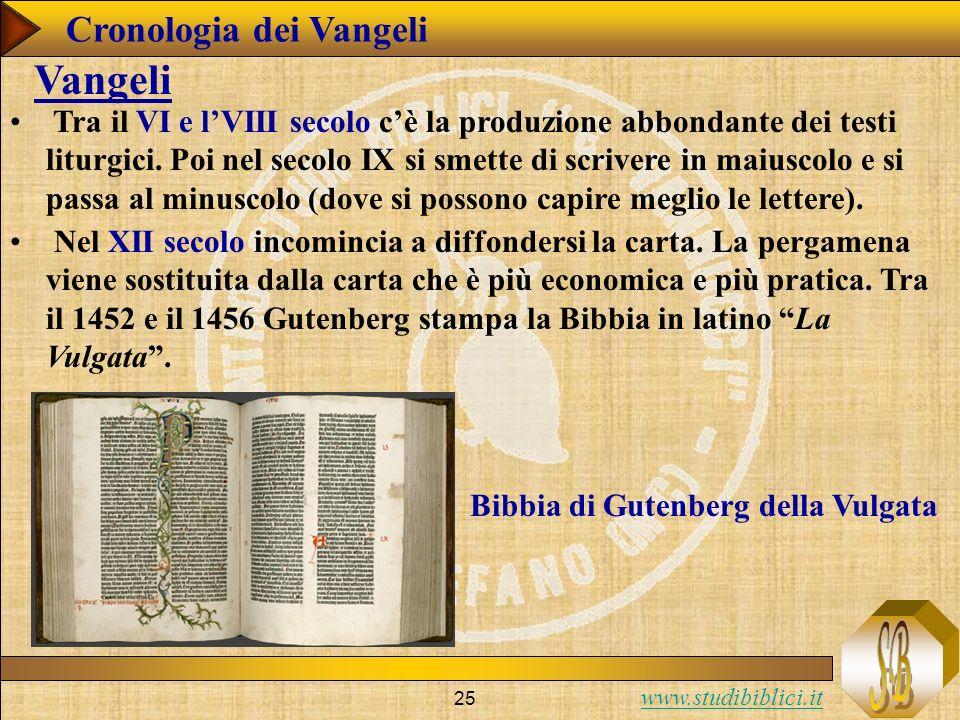 www.studibiblici.it 25 Cronologia dei Vangeli Vangeli Nel XII secolo incomincia a diffondersi la carta.