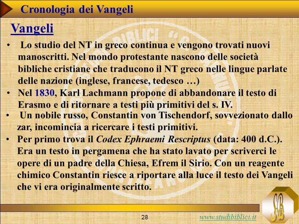 www.studibiblici.it 28 Cronologia dei Vangeli Vangeli Lo studio del NT in greco continua e vengono trovati nuovi manoscritti.