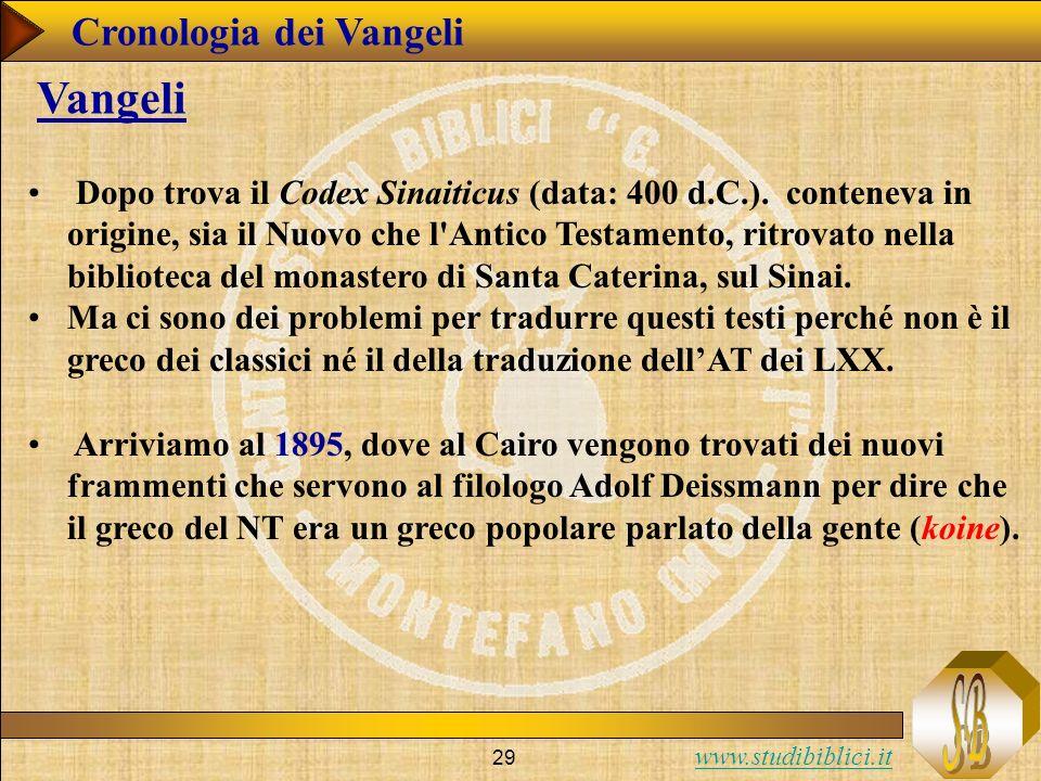 www.studibiblici.it 29 Cronologia dei Vangeli Vangeli Dopo trova il Codex Sinaiticus (data: 400 d.C.).