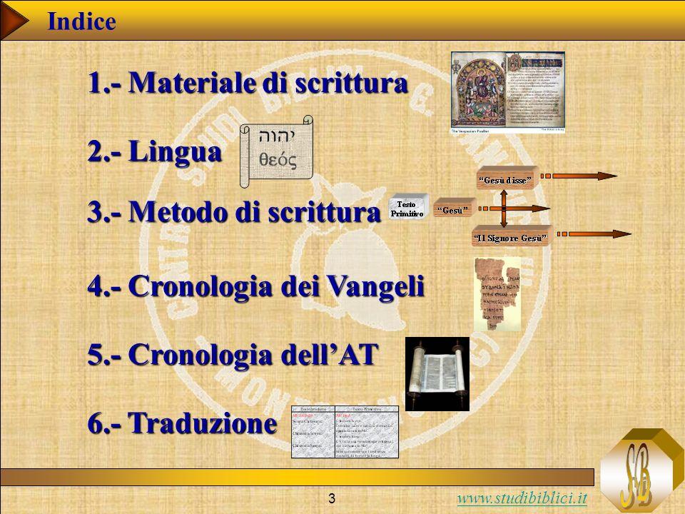 www.studibiblici.it 3 Indice 1.- Materiale di scrittura 2.- Lingua 3.- Metodo di scrittura 4.- Cronologia dei Vangeli 5.- Cronologia dellAT 6.- Traduzione