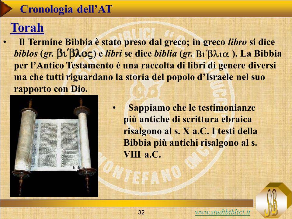 www.studibiblici.it 32 Cronologia dellAT Torah Il Termine Bibbia è stato preso dal greco; in greco libro si dice biblos gr.