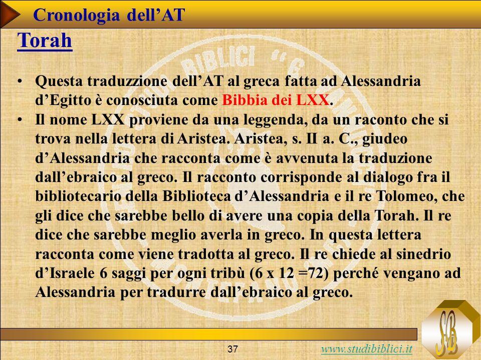 www.studibiblici.it 37 Cronologia dellAT Torah Questa traduzzione dellAT al greca fatta ad Alessandria dEgitto è conosciuta come Bibbia dei LXX.