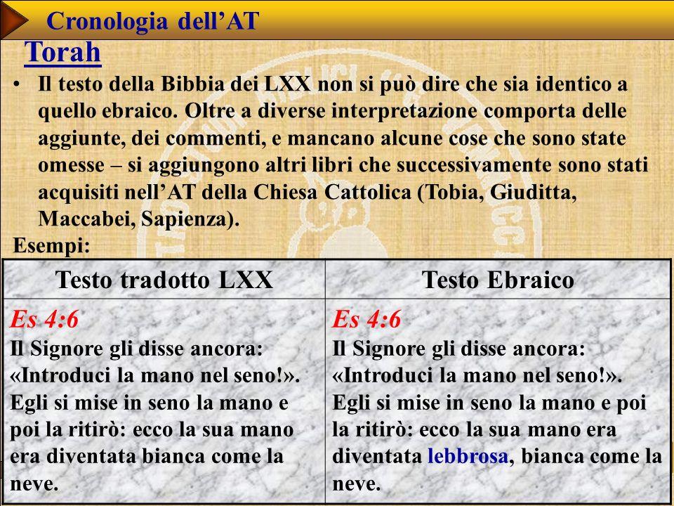 www.studibiblici.it 40 Cronologia dellAT Torah Il testo della Bibbia dei LXX non si può dire che sia identico a quello ebraico.