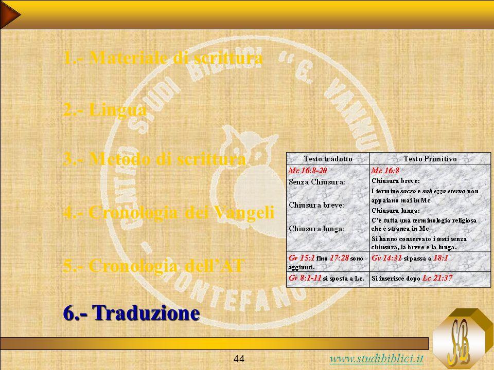 www.studibiblici.it 44 1.- Materiale di scrittura 2.- Lingua 3.- Metodo di scrittura 4.- Cronologia dei Vangeli 5.- Cronologia dellAT 6.- Traduzione