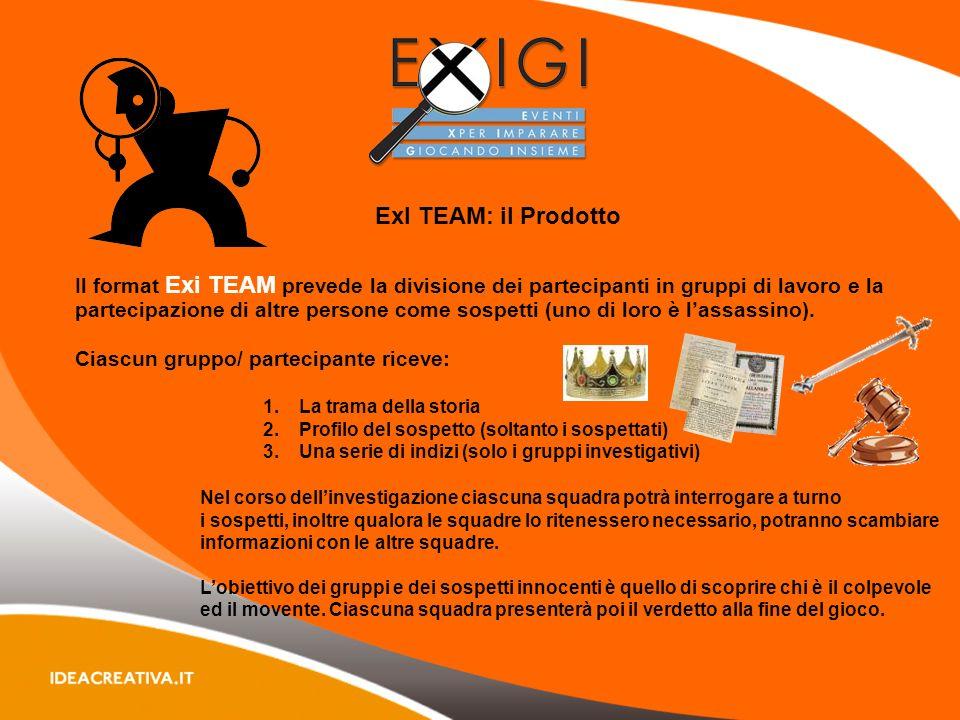 ExI TEAM: il Prodotto Il format Exi TEAM prevede la divisione dei partecipanti in gruppi di lavoro e la partecipazione di altre persone come sospetti (uno di loro è lassassino).