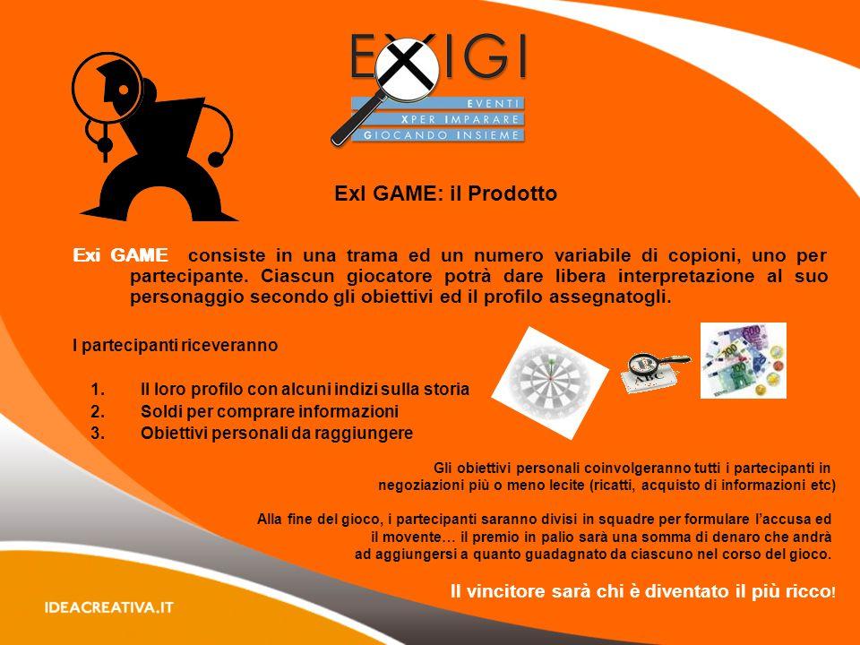 ExI GAME: il Prodotto Exi GAME consiste in una trama ed un numero variabile di copioni, uno per partecipante.