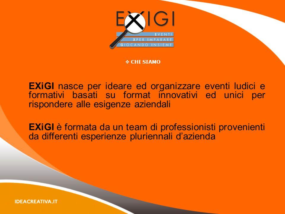 CHI SIAMO EXiGI nasce per ideare ed organizzare eventi ludici e formativi basati su format innovativi ed unici per rispondere alle esigenze aziendali EXiGI è formata da un team di professionisti provenienti da differenti esperienze pluriennali dazienda