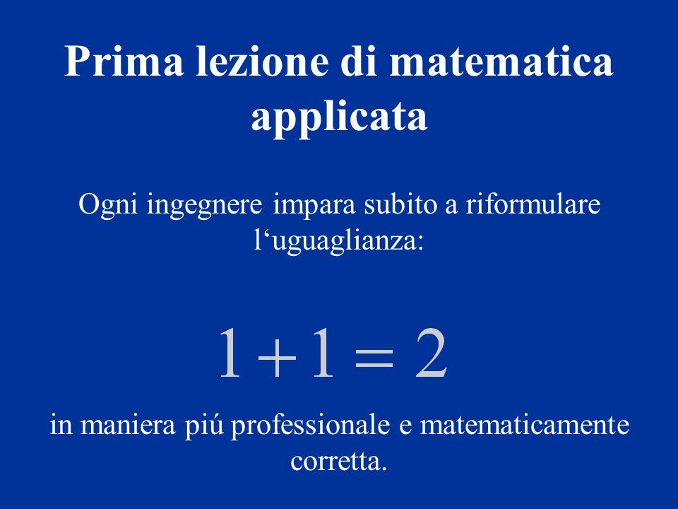 Ogni ingegnere impara subito a riformulare luguaglianza: in maniera piú professionale e matematicamente corretta.
