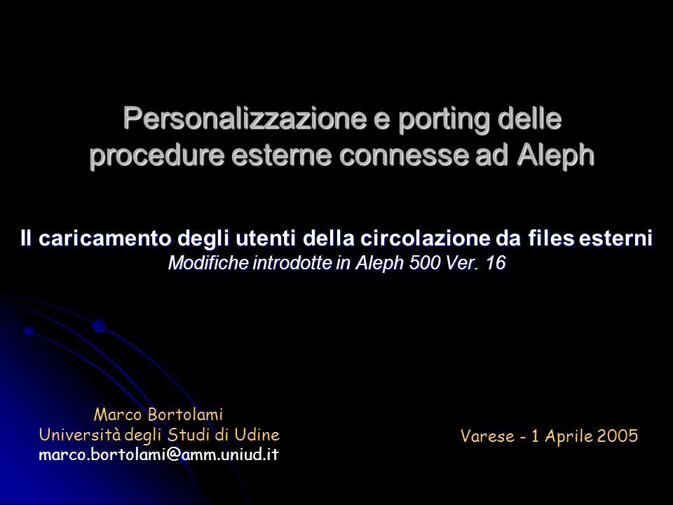 Personalizzazione e porting delle procedure esterne connesse ad Aleph Il caricamento degli utenti della circolazione da files esterni Modifiche introdotte in Aleph 500 Ver.