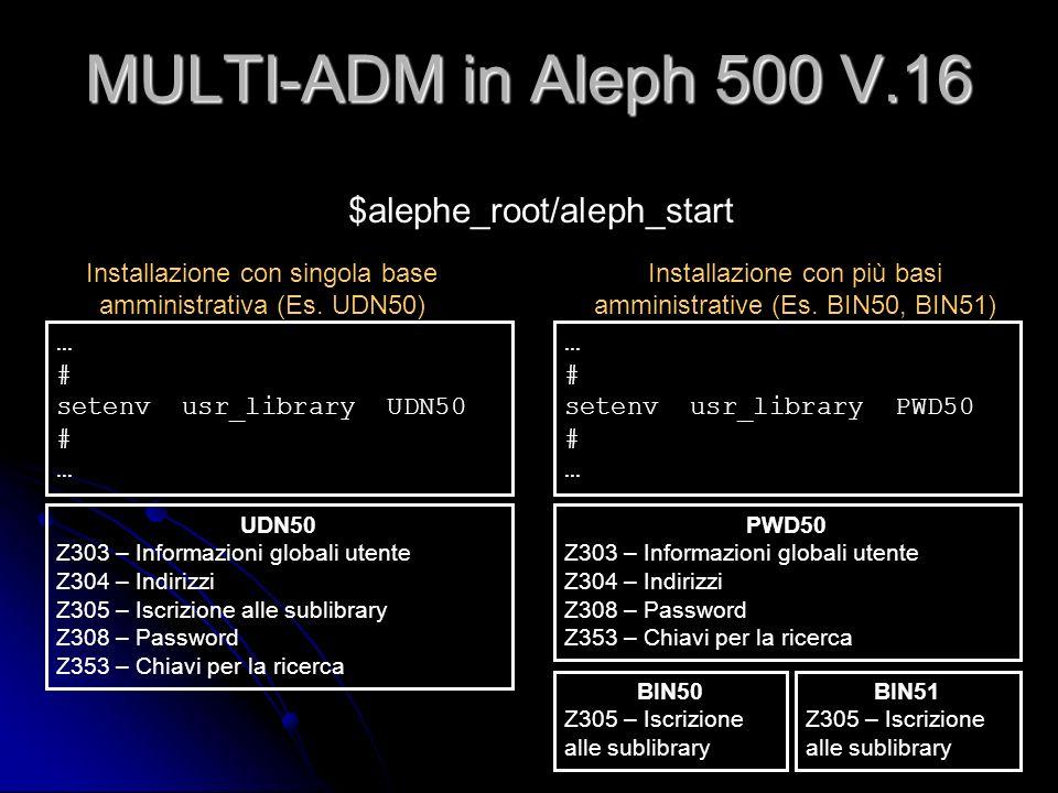 MULTI-ADM in Aleph 500 V.16 … # setenv usr_library UDN50 # … $alephe_root/aleph_start Installazione con singola base amministrativa (Es. UDN50) … # se
