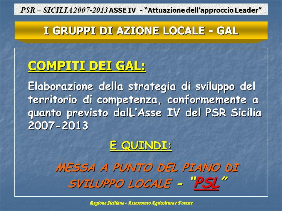 COMPITI DEI GAL: Elaborazione della strategia di sviluppo del territorio di competenza, conformemente a quanto previsto dalLAsse IV del PSR Sicilia 20