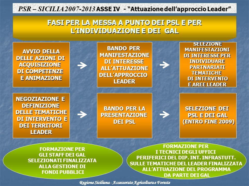 AVVIO DELLA DELLE AZIONI DI ACQUISIZIONE DI COMPETENZE E ANIMAZIONE SELEZIONEMANIFESTAZIONI DI INTERESSE PER INDIVIDUAREPARTNARIATITEMATICHE DI INTERVENTO E AREE LEADER BANDO PER MANIFESTAZIONE DI INTERESSE DI INTERESSEALLATTUAZIONEDELLAPPROCCIOLEADER NEGOZIAZIONE E DEFINIZIONE DEFINIZIONE DELLE TEMATICHE DI INTERVENTO E DI INTERVENTO E DEI TERRITORI DEI TERRITORILEADER SELEZIONE DEI PSL E DEI GAL (ENTRO FINE 2009) (ENTRO FINE 2009) BANDO PER LA PRESENTAZIONE PRESENTAZIONE DEI PSL FORMAZIONE PER GLI STAFF DEI GAL SELEZIONATI FINALIZZATA ALLA GESTIONE DI FONDI PUBBLICI FORMAZIONE PER I TECNICI DEGLI UFFICI PERIFERICI DEL DIP.