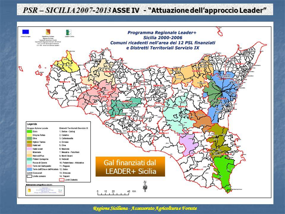 Regione Siciliana - Assessorato Agricoltura e Foreste PSR – SICILIA 2007-2013 ASSE IV - Attuazione dellapproccio Leader Gal finanziati dal LEADER+ Sicilia