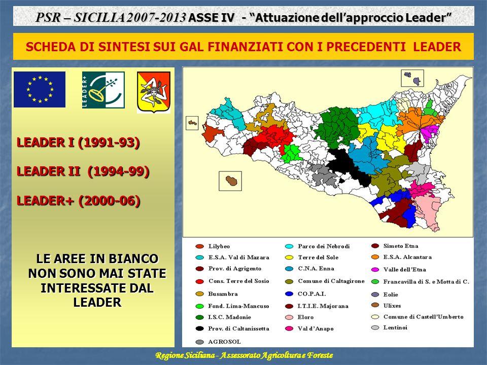 SCHEDA DI SINTESI SUI GAL FINANZIATI CON I PRECEDENTI LEADER Regione Siciliana - Assessorato Agricoltura e Foreste PSR – SICILIA 2007-2013 ASSE IV - Attuazione dellapproccio Leader LEADER I (1991-93) LEADER II (1994-99) LEADER+ (2000-06) LE AREE IN BIANCO NON SONO MAI STATE INTERESSATE DAL LEADER