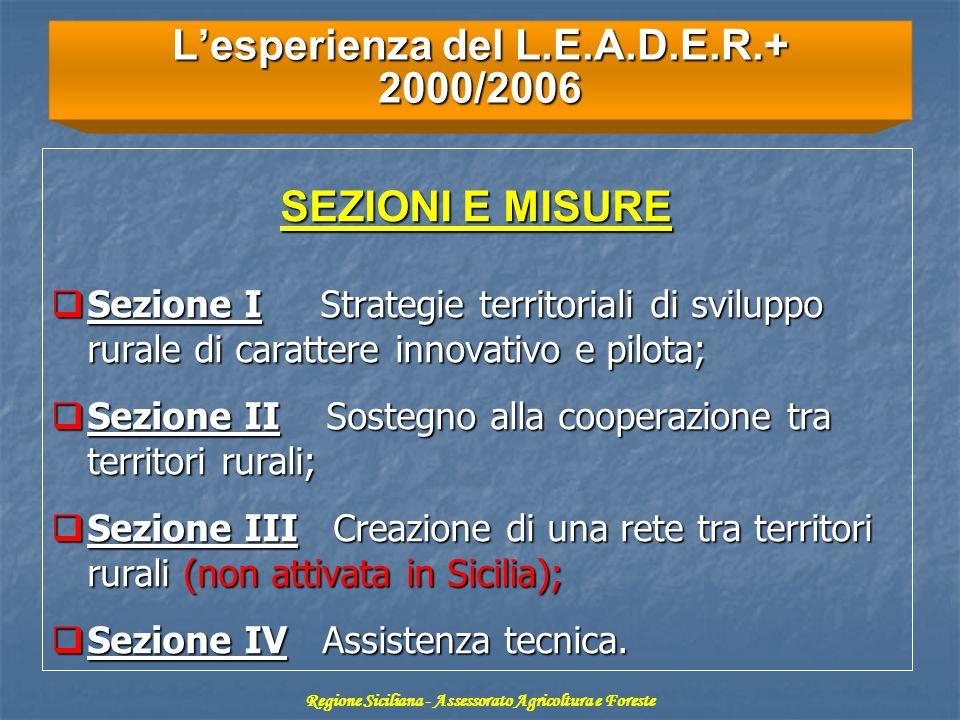 Lesperienza del L.E.A.D.E.R.+ 2000/2006 SEZIONI E MISURE Sezione I Strategie territoriali di sviluppo rurale di carattere innovativo e pilota; Sezione