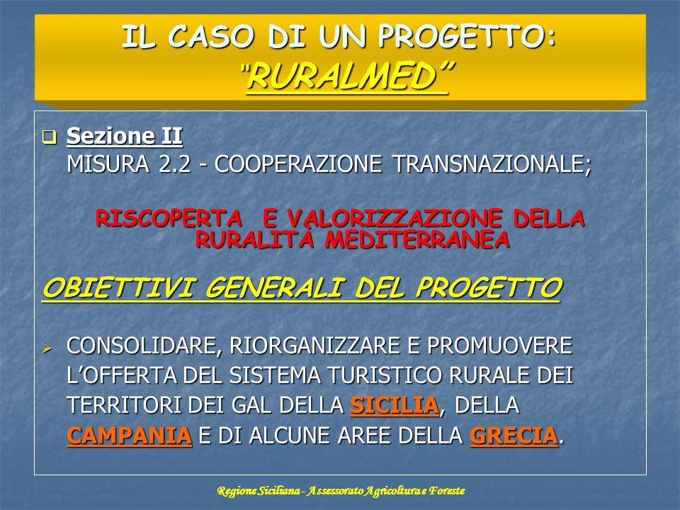 Sezione II Sezione II MISURA 2.2 - COOPERAZIONE TRANSNAZIONALE; RISCOPERTA E VALORIZZAZIONE DELLA RURALITÀ MEDITERRANEA OBIETTIVI GENERALI DEL PROGETT