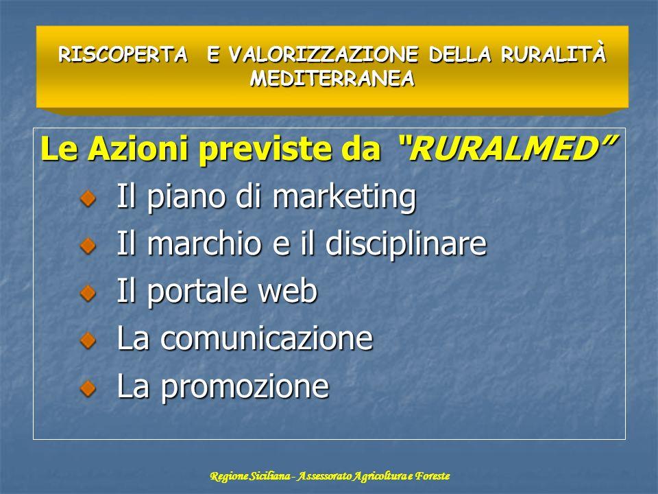 Le Azioni previste da RURALMED Il piano di marketing Il piano di marketing Il marchio e il disciplinare Il marchio e il disciplinare Il portale web Il