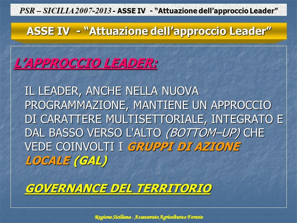 LAPPROCCIO LEADER: IL LEADER, ANCHE NELLA NUOVA PROGRAMMAZIONE, MANTIENE UN APPROCCIO DI CARATTERE MULTISETTORIALE, INTEGRATO E DAL BASSO VERSO L ALTO (BOTTOM–UP) CHE VEDE COINVOLTI I GRUPPI DI AZIONE LOCALE (GAL) GOVERNANCE DEL TERRITORIO ASSE IV - Attuazione dellapproccio Leader Regione Siciliana - Assessorato Agricoltura e Foreste PSR – SICILIA 2007-2013 - ASSE IV - Attuazione dellapproccio Leader