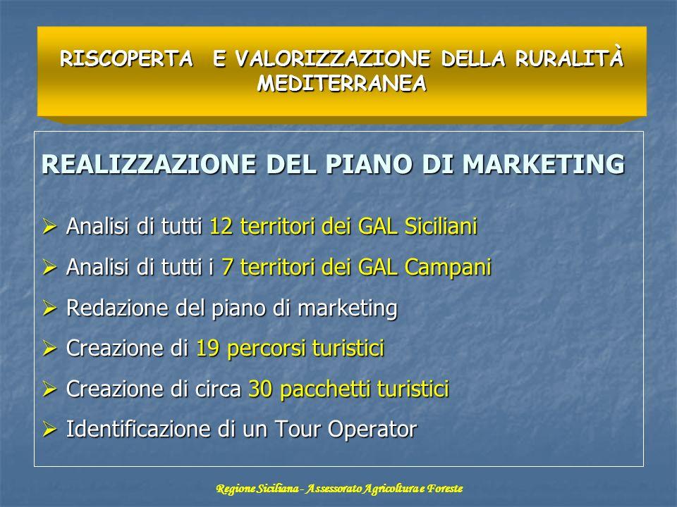 REALIZZAZIONE DEL PIANO DI MARKETING Analisi di tutti 12 territori dei GAL Siciliani Analisi di tutti 12 territori dei GAL Siciliani Analisi di tutti