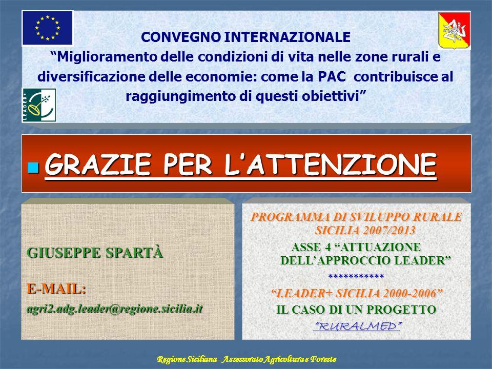 Regione Siciliana ASSESSORATO AGRICOLTURA E FORESTE Dipartimento Interventi Infrastrutturali - Servizio X° LEADER GIUSEPPE SPARTÀ E-MAIL: agri2.adg.le