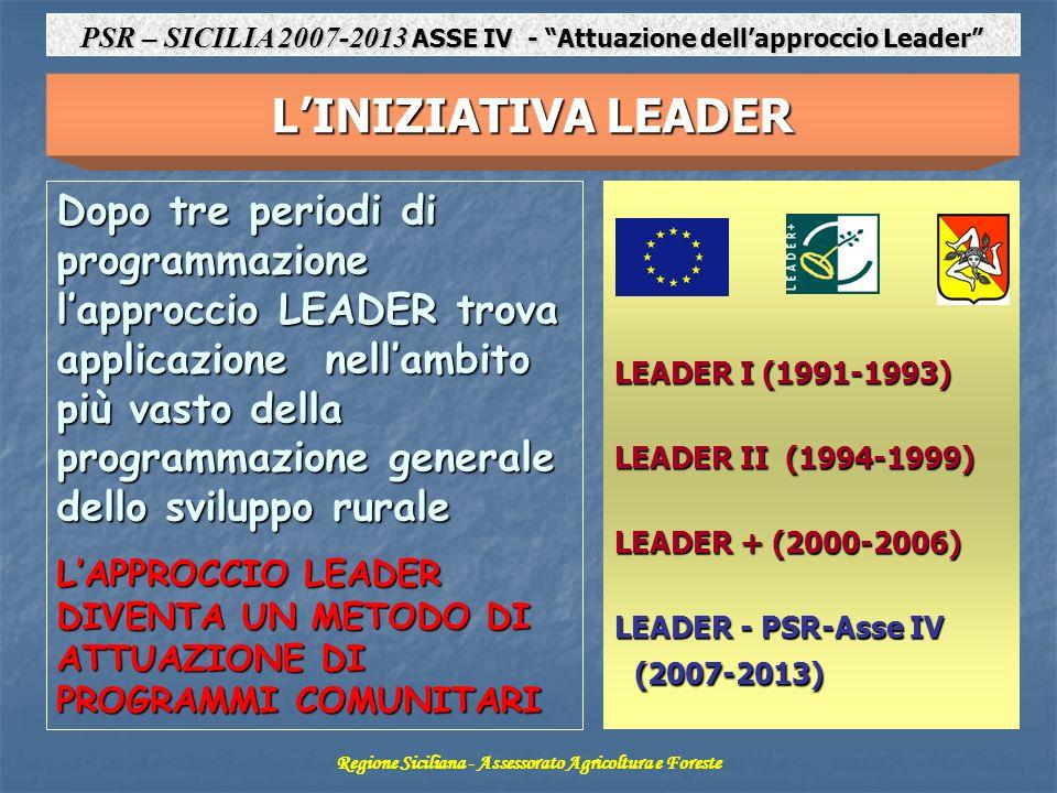 LINIZIATIVA LEADER Dopo tre periodi di programmazione lapproccio LEADER trova applicazione nellambito più vasto della programmazione generale dello sviluppo rurale LAPPROCCIO LEADER DIVENTA UN METODO DI ATTUAZIONE DI PROGRAMMI COMUNITARI LEADER I (1991-1993) LEADER II (1994-1999) LEADER + (2000-2006) LEADER - PSR-Asse IV (2007-2013) Regione Siciliana - Assessorato Agricoltura e Foreste PSR – SICILIA 2007-2013 ASSE IV - Attuazione dellapproccio Leader