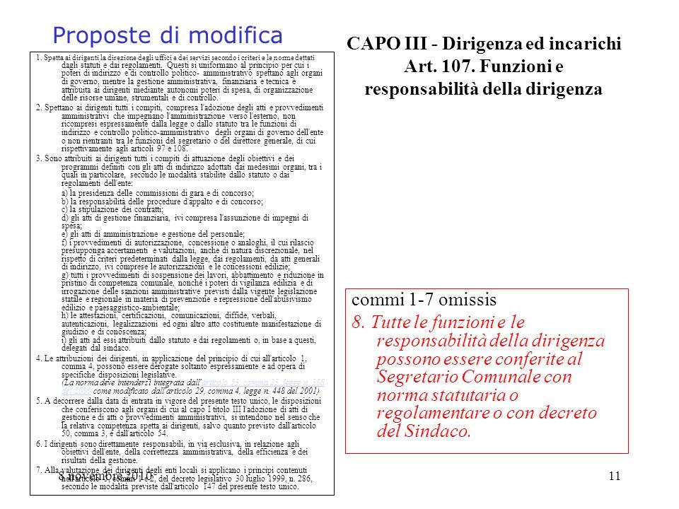 8 novembre 201011 CAPO III - Dirigenza ed incarichi Art. 107. Funzioni e responsabilità della dirigenza 1. Spetta ai dirigenti la direzione degli uffi