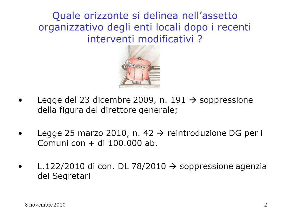 8 novembre 20102 Quale orizzonte si delinea nellassetto organizzativo degli enti locali dopo i recenti interventi modificativi .
