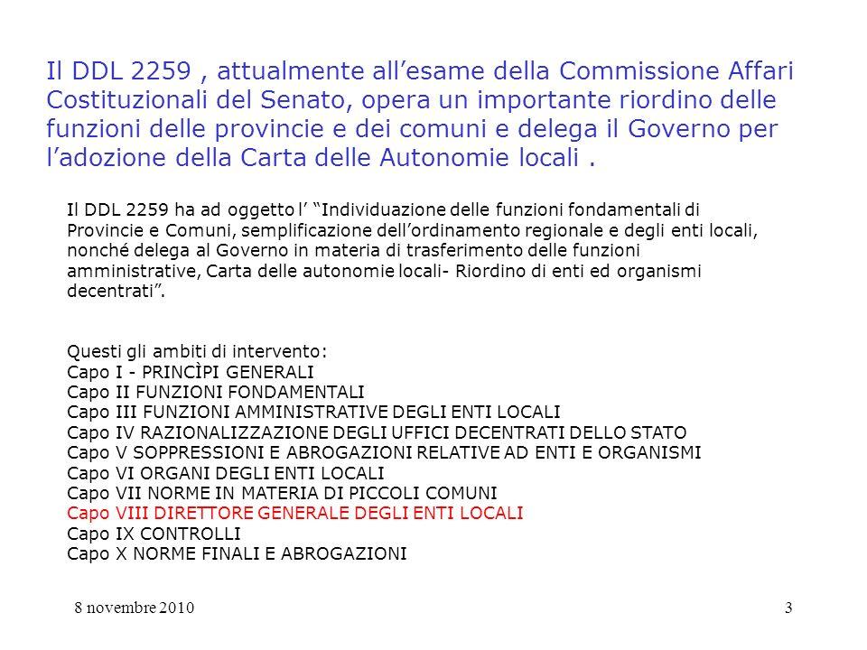 8 novembre 20104 Perché una proposta dei segretari comunali della Vighenzi .