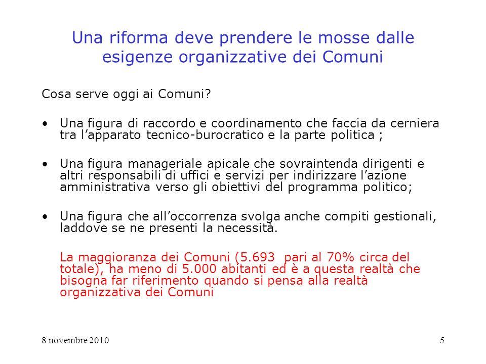 8 novembre 20105 Una riforma deve prendere le mosse dalle esigenze organizzative dei Comuni Cosa serve oggi ai Comuni.
