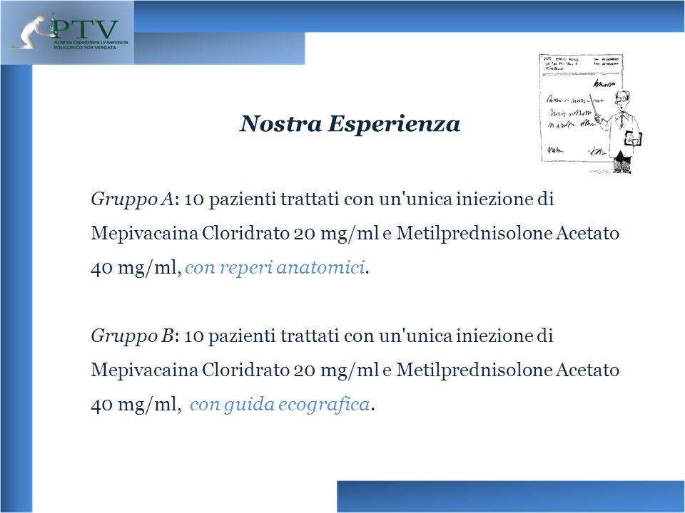 Gruppo A: 10 pazienti trattati con un'unica iniezione di Mepivacaina Cloridrato 20 mg/ml e Metilprednisolone Acetato 40 mg/ml, con reperi anatomici. G